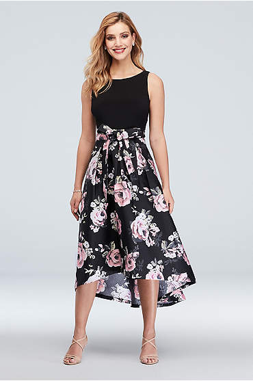 Boat Neck Floral High-Low Ball Gown with Bow