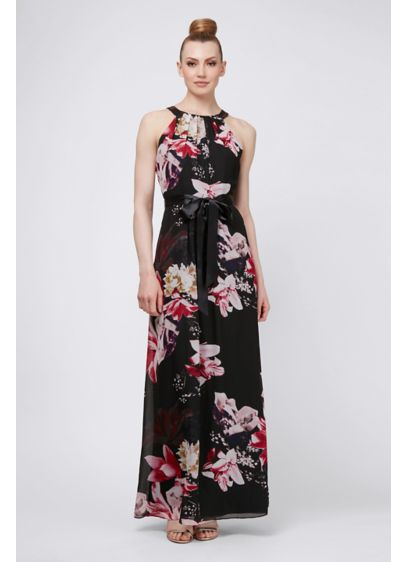 Tucked Neckline Floral Printed Chiffon Maxi Dress - Tied with a pretty satin sash, this floral