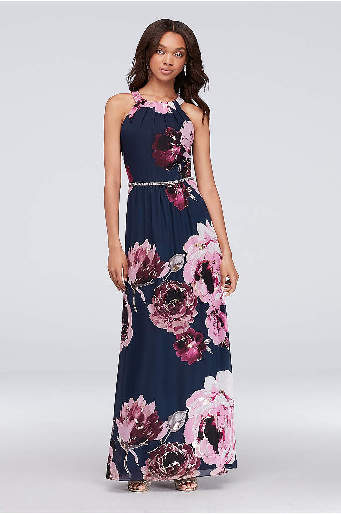 Floral Print Chiffon Halter Dress with Beaded Belt - This floral chiffon halter dress makes a beautiful