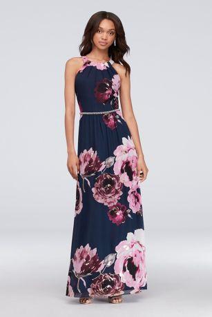Flower Print Formal Dress