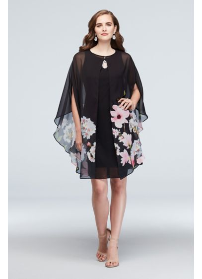 Chiffon Floral Capelet and Keyhole Dress Set - You're bound to turn heads wearing this sophisticated