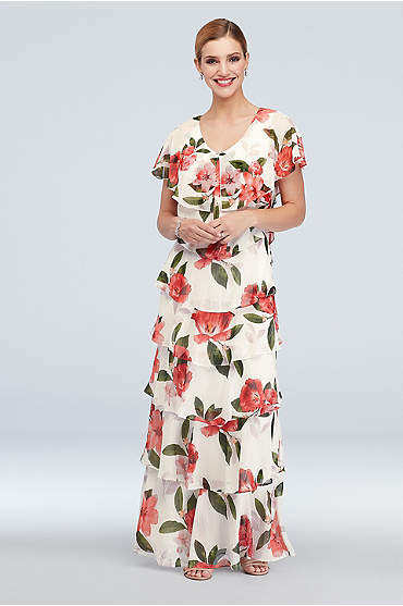 Ruffled Tiers Floral Chiffon Flutter Sleeve Gown