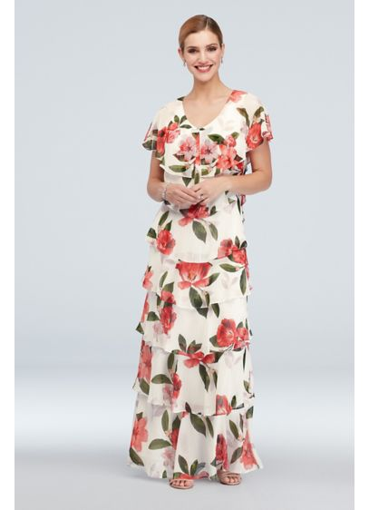 Ruffled Tiers Floral Chiffon Flutter Sleeve Gown - Floating tiers cascade down this floral chiffon flutter-sleeve