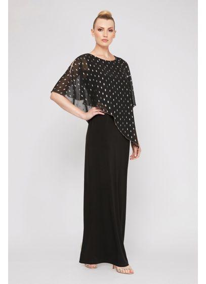 Chiffon A-Line Dress with Metallic Printed Capelet - A foil-printed, bead-trimmed capelet tops this long chiffon