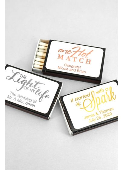 Personalized Metallic Foil Matches Set of 50 - Wedding Gifts & Decorations