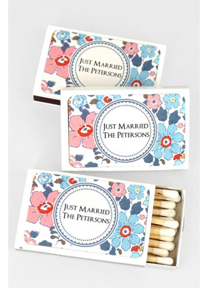 Floral Pattern Personalized Matches Set of 50 - Wedding Gifts & Decorations