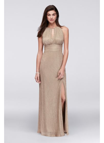 Metallic Keyhole Halter A-Line Dress - Glistening metallic fabric shines bright, creating an eye-catching