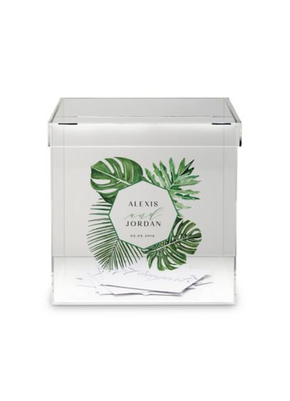 Personalized Acrylic Wishing Well Box - Printed with tropical greenery, this contemporary acrylic box