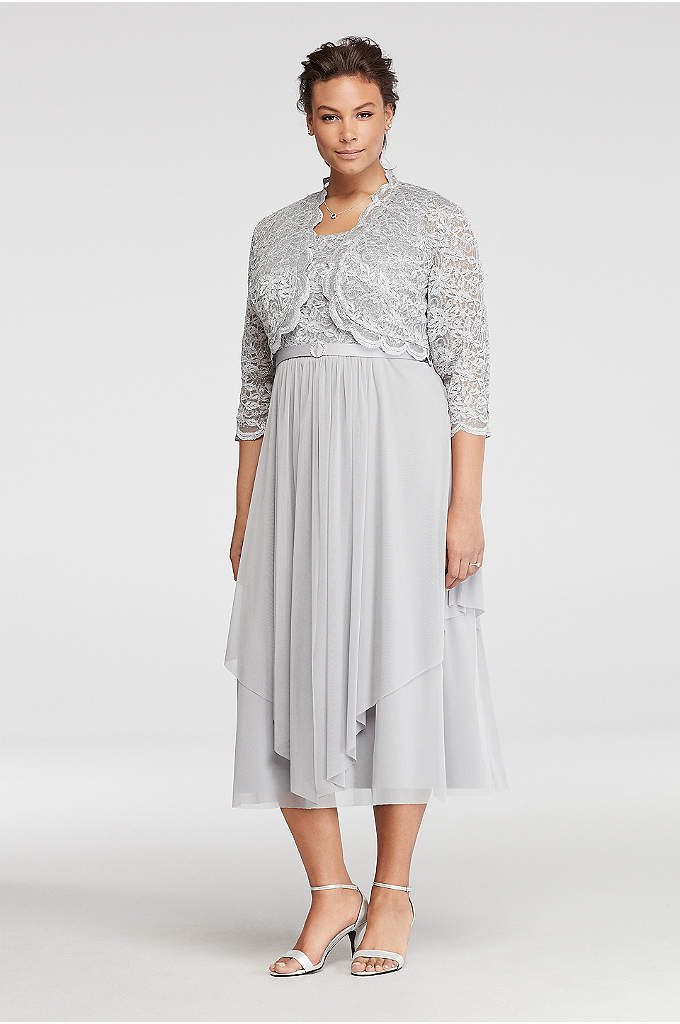 Mesh Belted Dress with 3/4 Sleeved Lace Jacket - Mothers deserve to look pretty and have fun