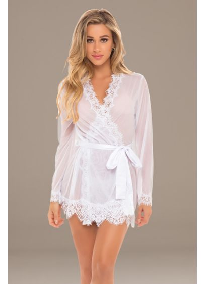 Provence Eyelash Lace Robe with Sash and G-String - Wedding Accessories