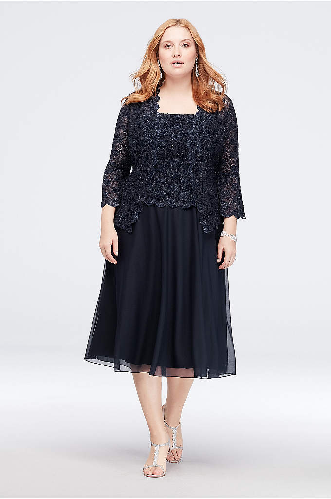 Bell Sleeve Lace Plus Size Jacket Dress - Soft bell sleeves give this lace jacket a