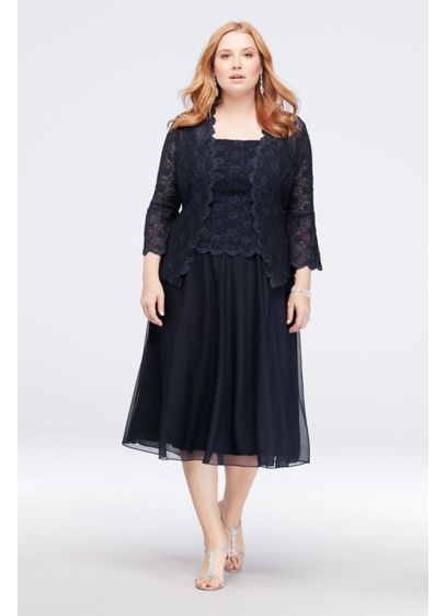 Bell Sleeve Lace Plus Size Jacket Dress | David\'s Bridal