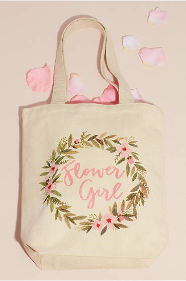 Floral Embellished Canvas Flower Girl Tote