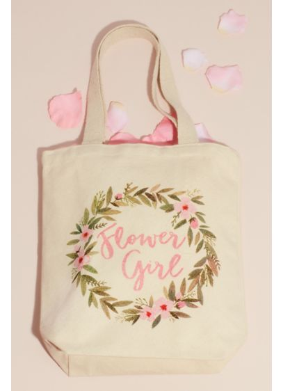 Floral Embellished Canvas Flower Girl Tote - Delight your favorite little lady with this charming