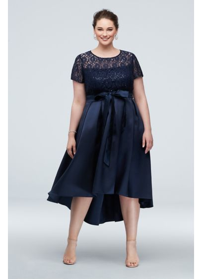 Lace Short Sleeve Illusion Bodice Dress with Bow - Beautiful illusion lace tops the bodice of this