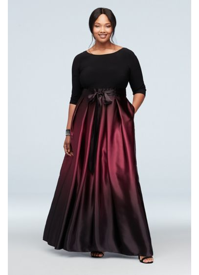 3/4 Sleeve Bodice Ombre Skirt Plus Size Gown - Turn heads in this wow-worthy special occasion plus-size