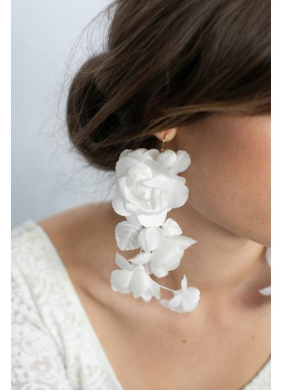 Twigs and Honey Ivory (Cascading Silk Flower Earrings)