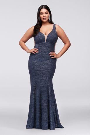 Plunge V Neck Glitter Knit Mermaid Plus Size Gown Davids Bridal