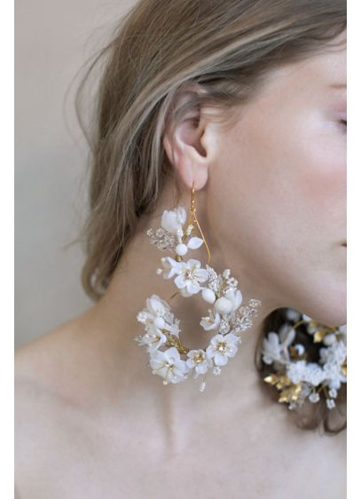 Handmade Clay Blossom Chandelier Earrings - Wedding Accessories
