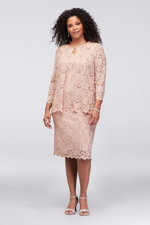 Short Sequin Lace Plus Size Dress With Jacket Davids Bridal