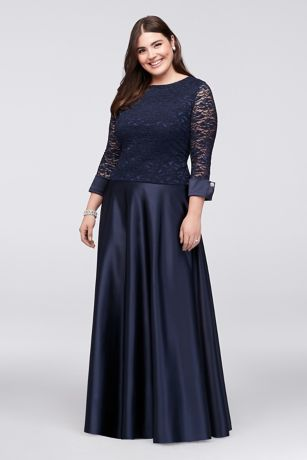 3/4-Sleeve Lace Satin Plus-Size Two-Piece Dress | David\'s Bridal