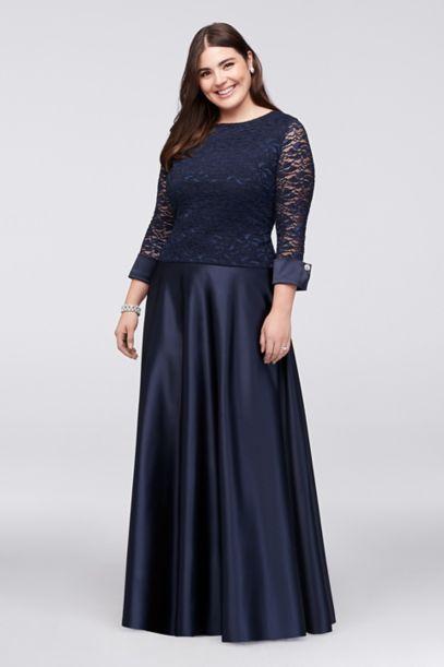 3 4 Sleeve Lace Satin Plus Size Two Piece Dress David S