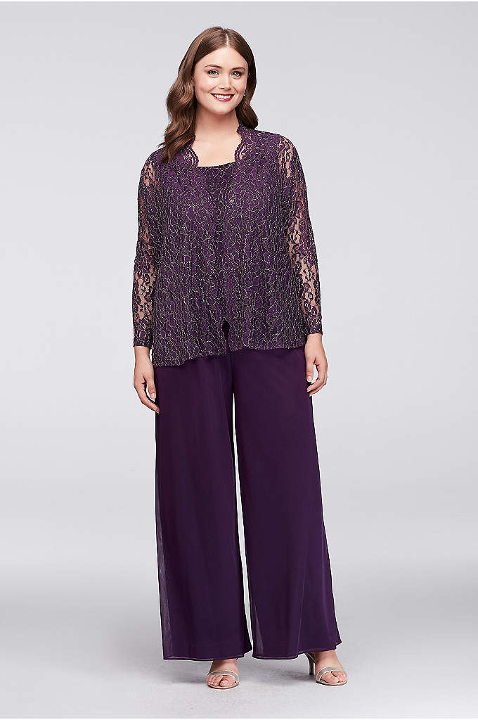 Metallic Lace and Chiffon Plus Size Pantsuit - This three-piece, plus-size pantsuit glimmers with a metallic