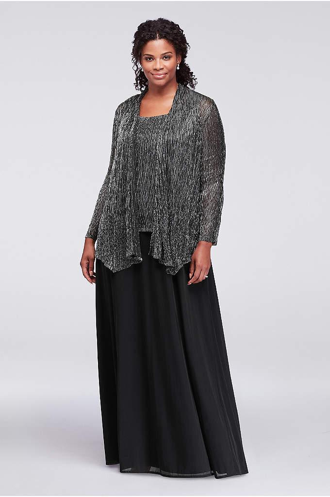 Textured Metallic Plus Size Dress with Jacket