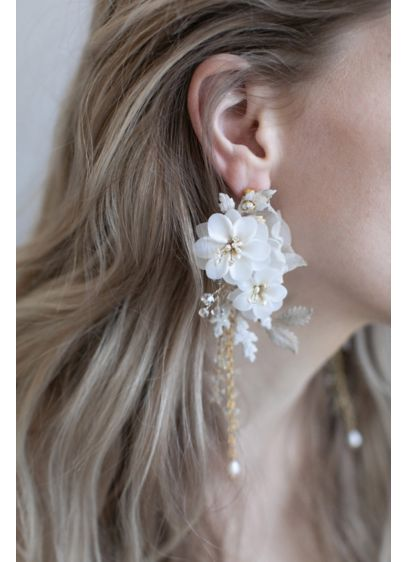 Handmade Silk and Clay Blossom Earrings - Wedding Accessories