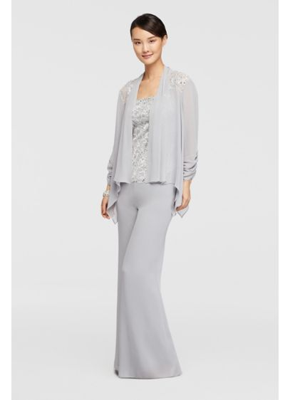 Three Piece Chiffon Pant Suit With Sequined Bodice David