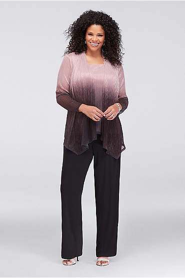 Crinkled Ombre Plus Size Three-Piece Pantsuit