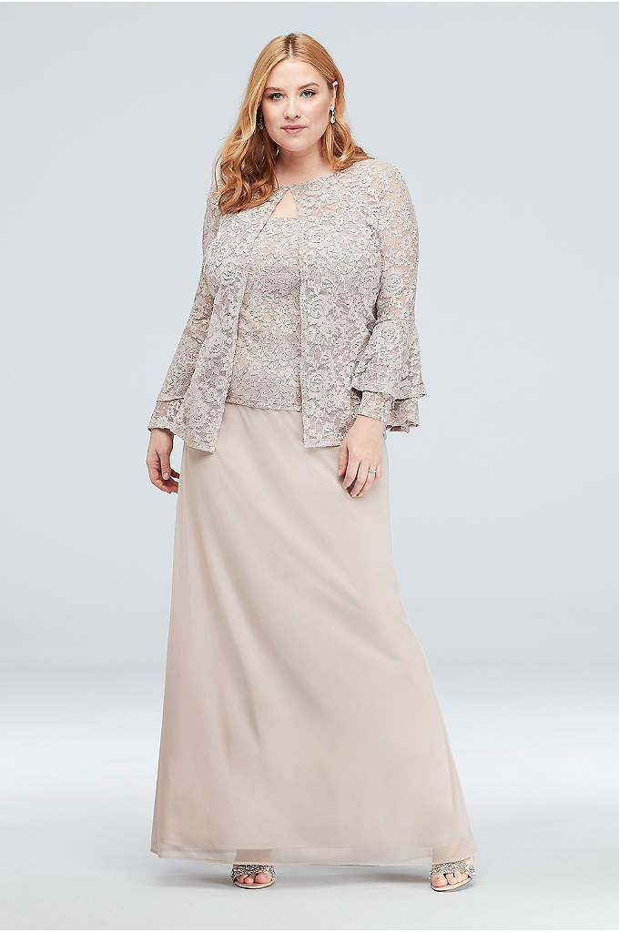 Bell Sleeve Glitter Lace Plus Size Jacket Dress - Glitter lace and mesh come together beautifully on