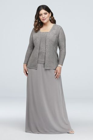 Glitter Knit and Mesh Plus Size Gown with Jacket   David\'s ...