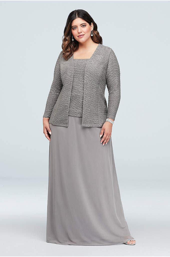 Glitter Knit and Mesh Plus Size Gown with - A lovely look for the mother of the
