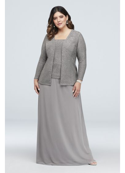 Glitter Knit and Mesh Plus Size Gown with Jacket