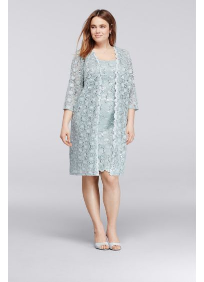 Allover Sequin Lace Plus Size Short Jacket Dress Davids Bridal