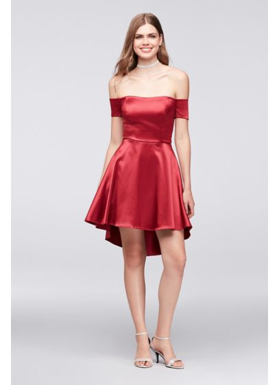 High Low A-Line Off the Shoulder Cocktail and Party Dress - My Michelle