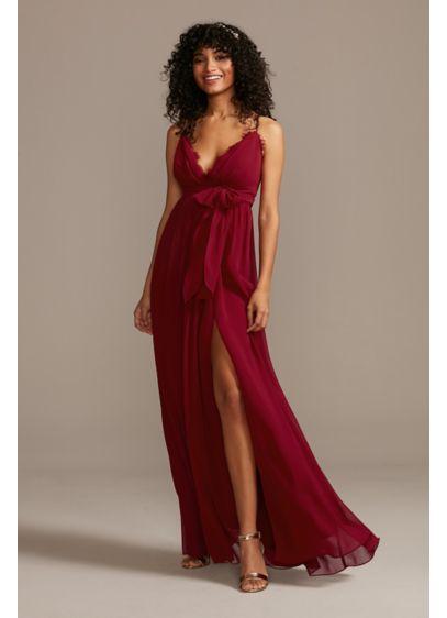 Lace Trim Spaghetti Strap Chiffon Dress with Sash - For a boho vibe at your next big