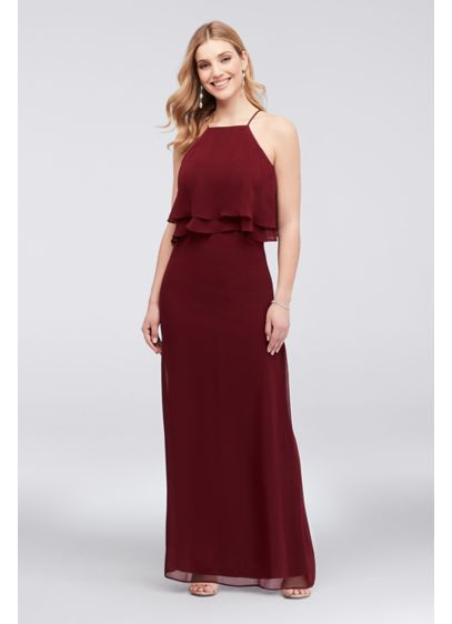 Double-Flounce Chiffon Halter Sheath Dress - A wear-anywhere chiffon party dress, topped with a
