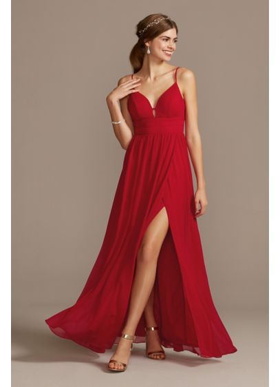 Banded Chiffon Spaghetti Strap Dress with Slit - Delicate bands wrap around the bodice of this