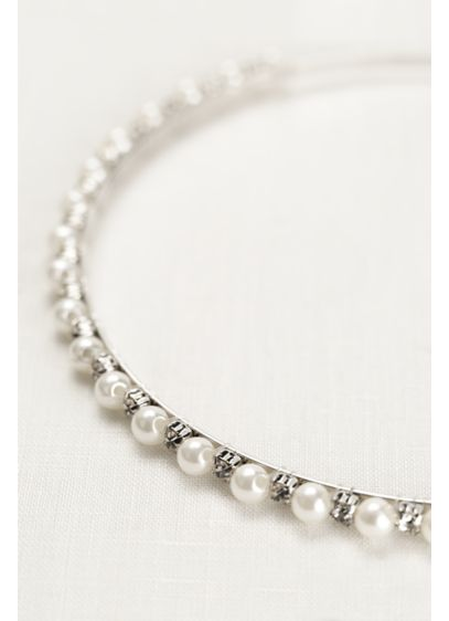 David's Bridal Grey (Thin Pearl and Crystal Headband)