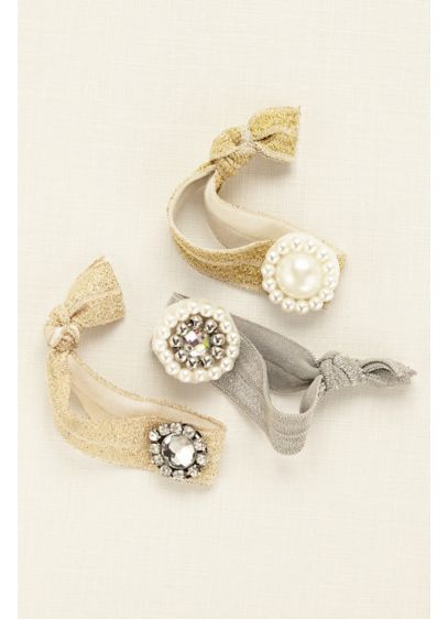 Multi Pack Embellished Hair Ties - Wedding Accessories 1dad3b6636e