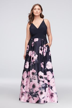 V Neck Jersey And Printed Satin Plus Size Gown Davids Bridal