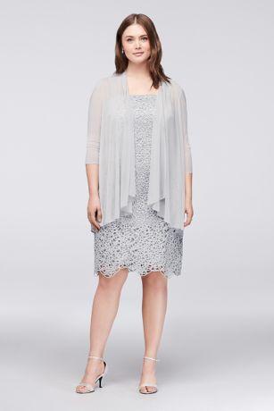Petite Plus Size Metallic Lace Dress with Jacket | David\'s Bridal