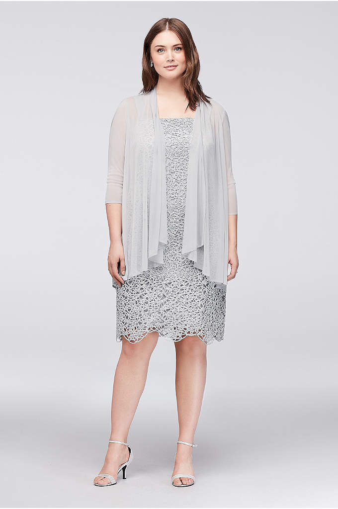 Petite Plus Size Metallic Lace Dress with Jacket - Loopy, metallic openwork offers a modern take on