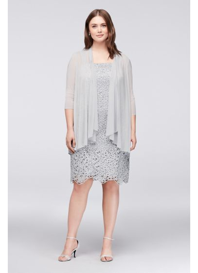 Petite Plus Size Metallic Lace Dress with Jacket