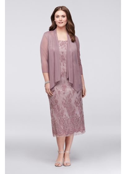 Lace Plus Size Midi Dress with Chiffon Jacket