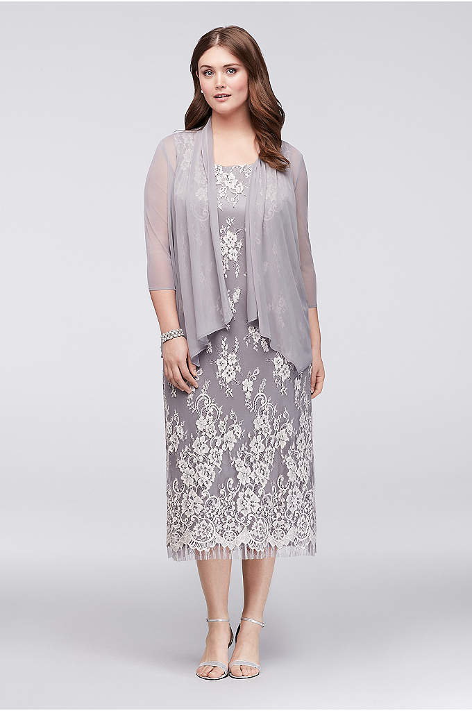 Plus Size Lace Midi Dress with Chiffon Jacket - This gorgeous midi-length shift dress is topped with