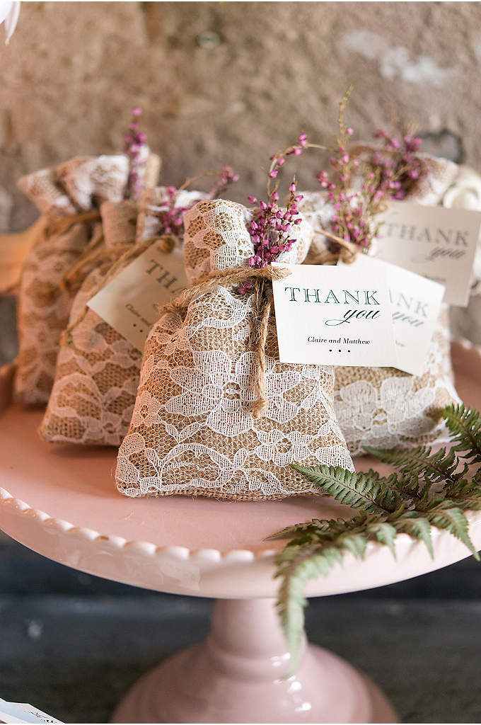 Burlap and Lace Favor Bag Set of 12 - These adorable favor bags are the perfect blend