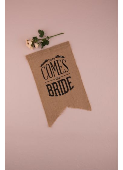 Burlap Print Here Comes The Bride Ceremony Sign - An adorable alternative to the flower girl basket,